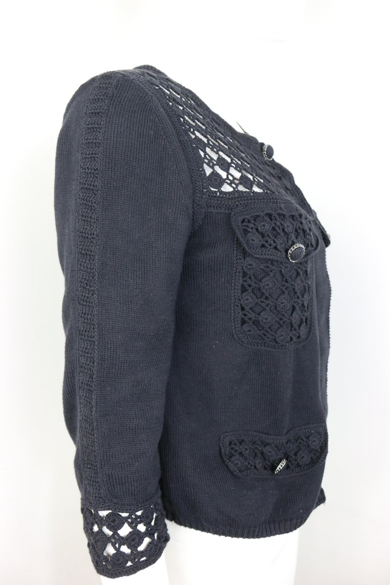 Women's Chanel Black Cotton Pattern Knitted 3/4 Sleeves Length Cardigan