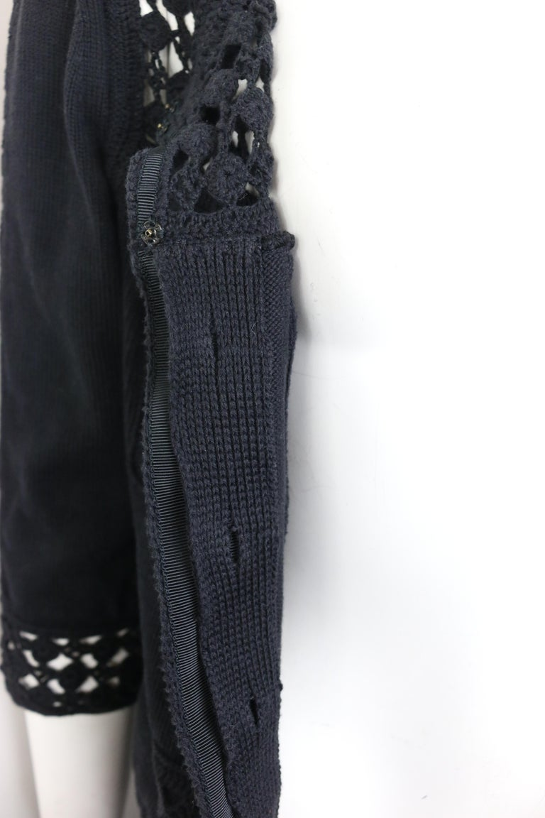 Chanel Black Cotton Pattern Knitted 3/4 Sleeves Length Cardigan  For Sale 5