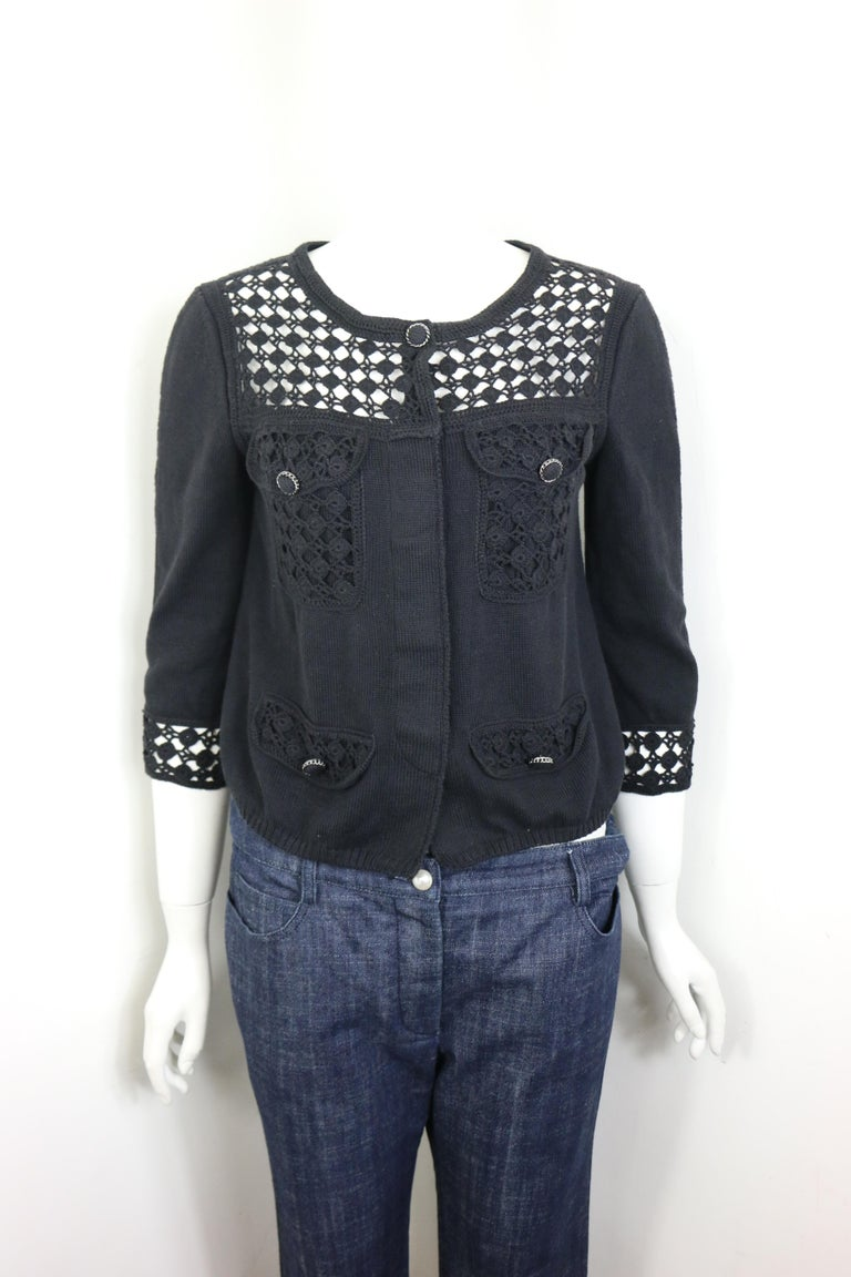 Chanel Black Cotton Pattern Knitted 3/4 Sleeves Length Cardigan  For Sale 6