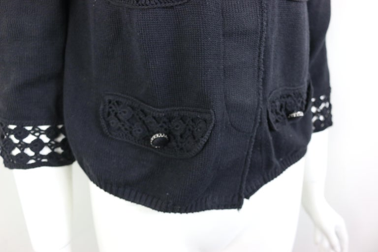 Chanel Black Cotton Pattern Knitted 3/4 Sleeves Length Cardigan  1