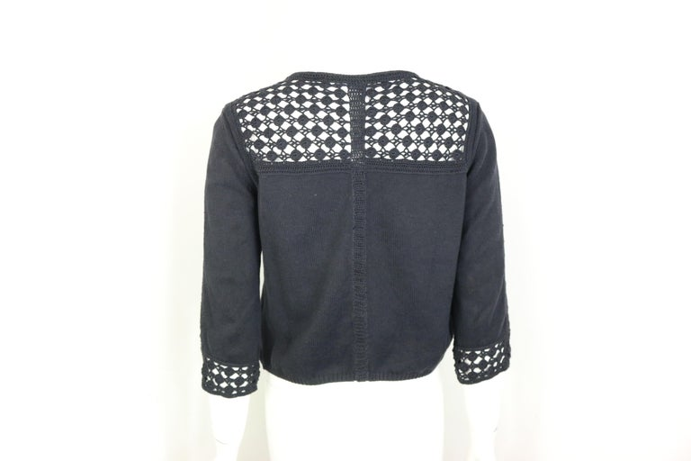 Chanel Black Cotton Pattern Knitted 3/4 Sleeves Length Cardigan  2
