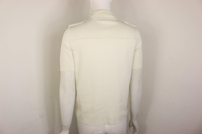Prada White Cotton Knitted Shoulder Epaulettes Short Sleeves Collar Shirt  In New Condition For Sale In Sheung Wan, HK