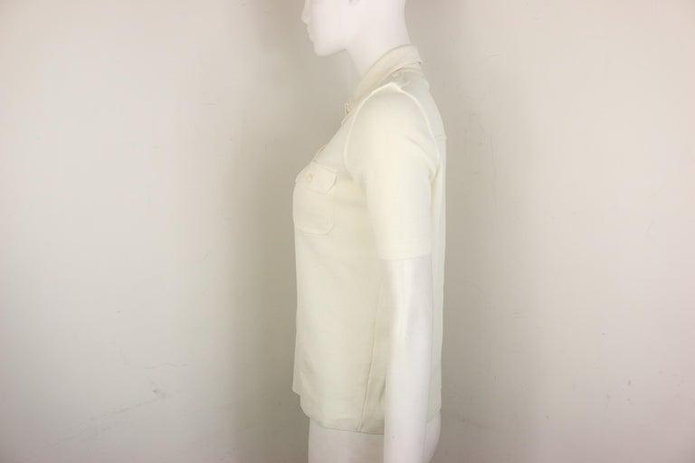 Women's Prada White Cotton Knitted Shoulder Epaulettes Short Sleeves Collar Shirt  For Sale