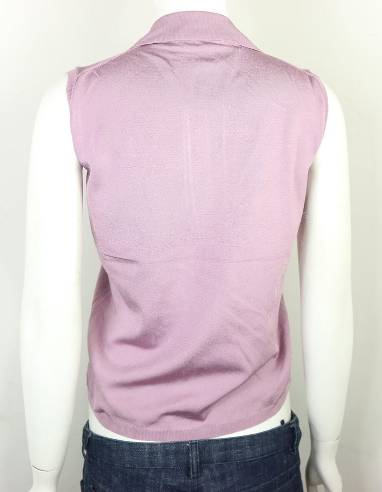 Prada Purple Silk Knitted Sleeveless Opening Collar Top  In New Condition For Sale In Sheung Wan, HK