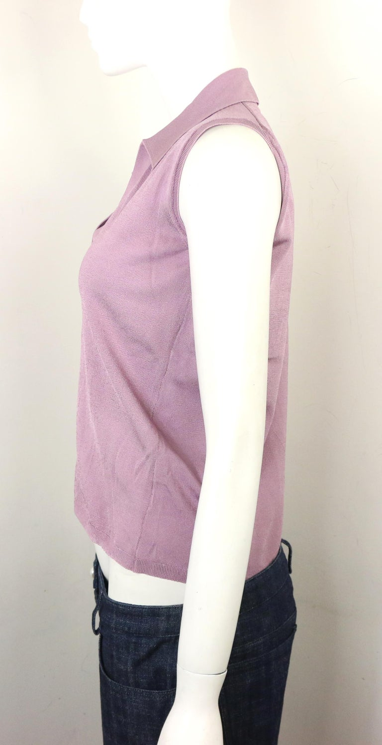 Beige Prada Purple Silk Knitted Sleeveless Opening Collar Top  For Sale