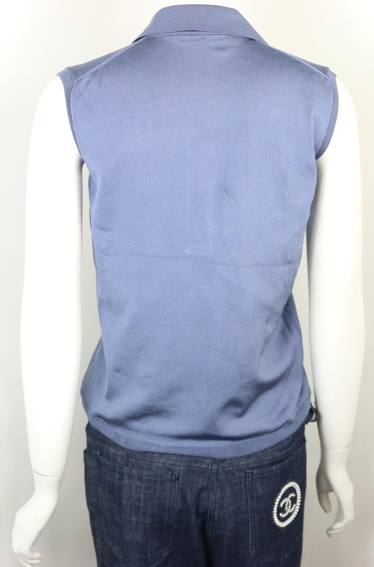 Women's Prada Blue Silk Knitted Sleeveless Opening Collar Top  For Sale