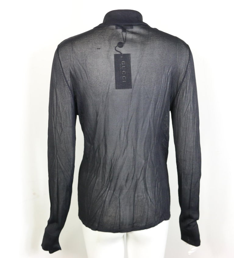 Gucci Black Rayon Knitted Collar Long Sleeves Shirt In New Condition For Sale In Sheung Wan, HK