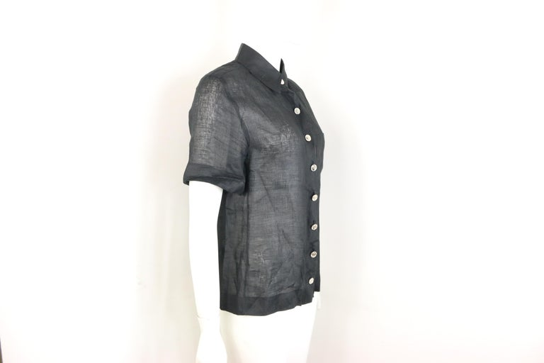 Chanel Black Linen Short Sleeves Collar Shirt  In Excellent Condition For Sale In Sheung Wan, HK