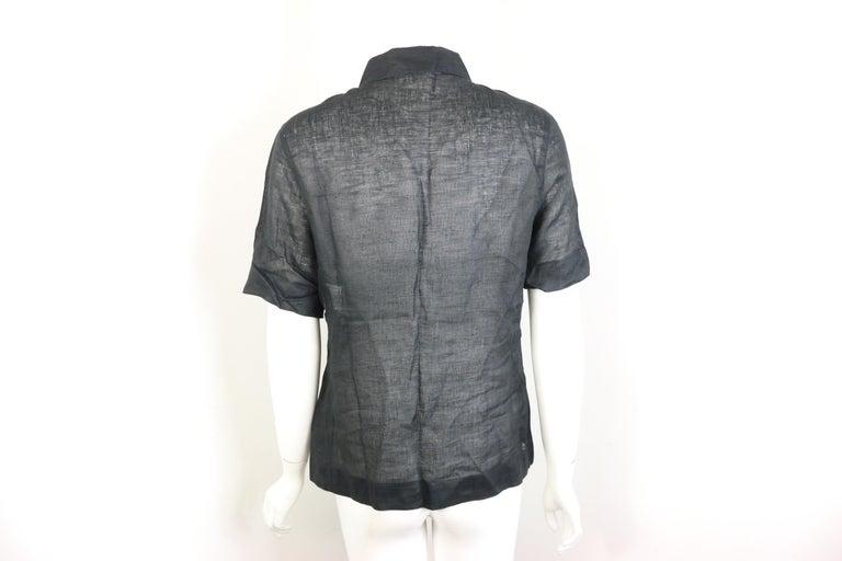 Women's or Men's Chanel Black Linen Short Sleeves Collar Shirt  For Sale