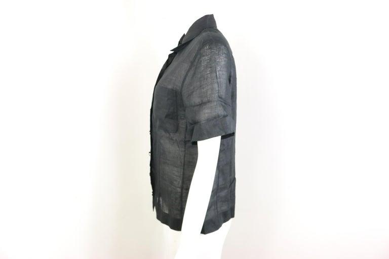 Chanel Black Linen Short Sleeves Collar Shirt  For Sale 1