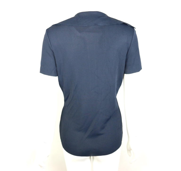 Gucci Navy Knitted V-Neck Polo Shirt In New Condition For Sale In Sheung Wan, HK