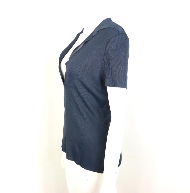Black Gucci Navy Knitted V-Neck Polo Shirt For Sale