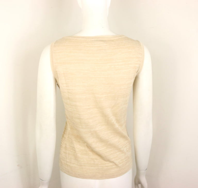 dd6a5967b6118 Chanel Beige Cotton Knitted Tank Top In Excellent Condition For Sale In  Sheung Wan