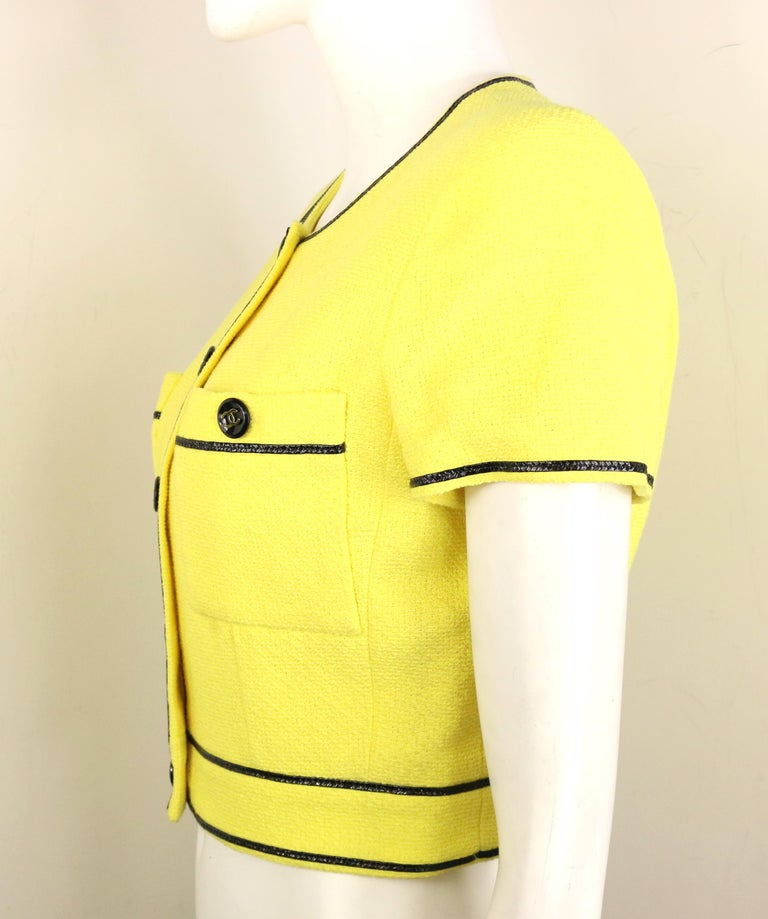 Women's Chanel Yellow Cotton Short Sleeves Cropped Jacket For Sale