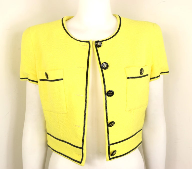 Chanel Yellow Cotton Short Sleeves Cropped Jacket For Sale 1