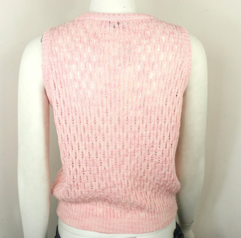 Orange Gianni Versace Sport Pink Cotton Knitted Sleeveless Pullover Top For Sale