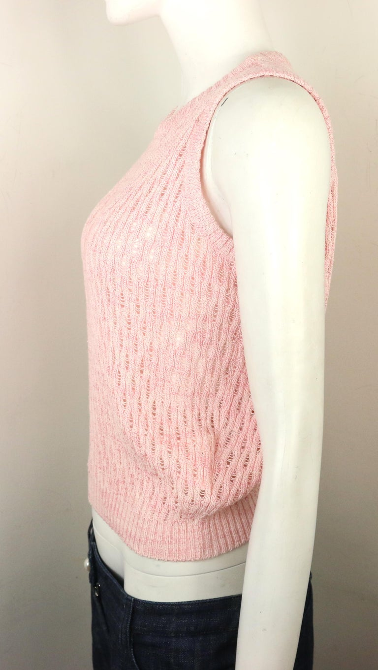 Gianni Versace Sport Pink Cotton Knitted Sleeveless Pullover Top In New Condition For Sale In Sheung Wan, HK