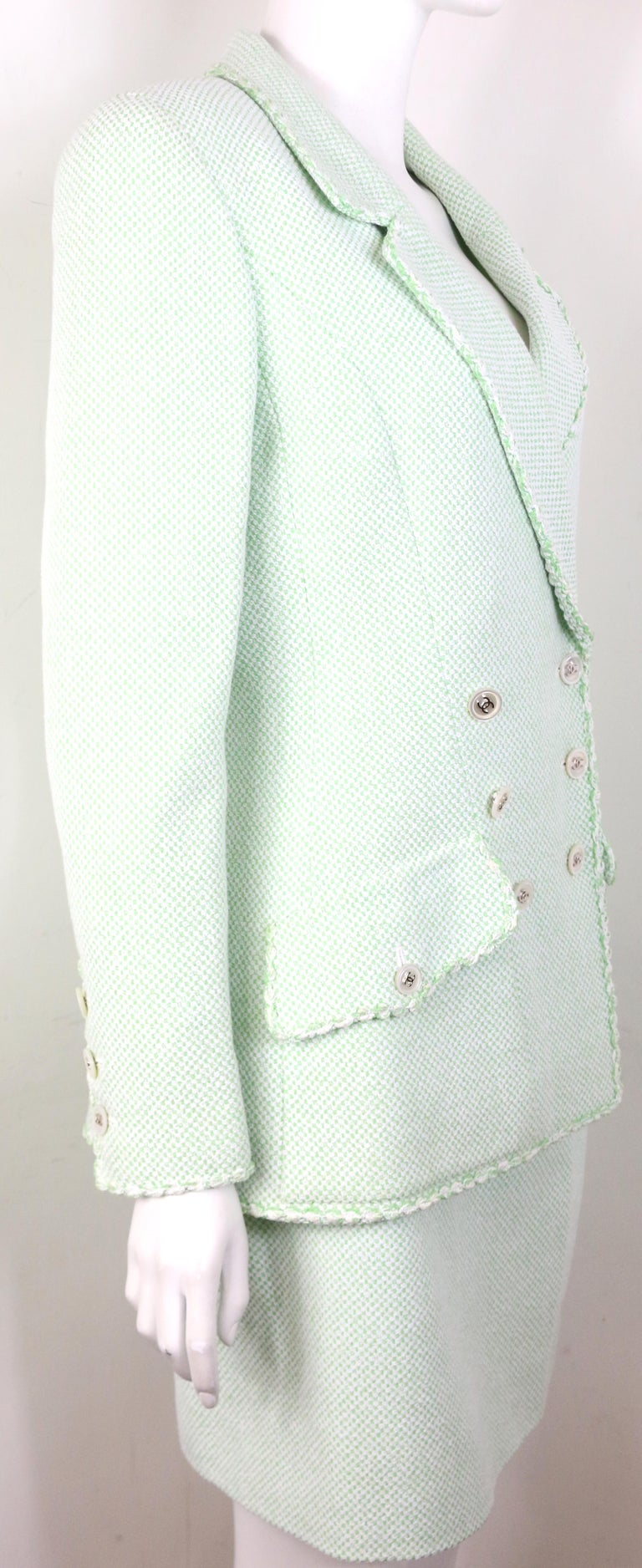 Gray Chanel White/Green Cotton and Wool Double-Breasted Jacket and Skirt Ensemble  For Sale