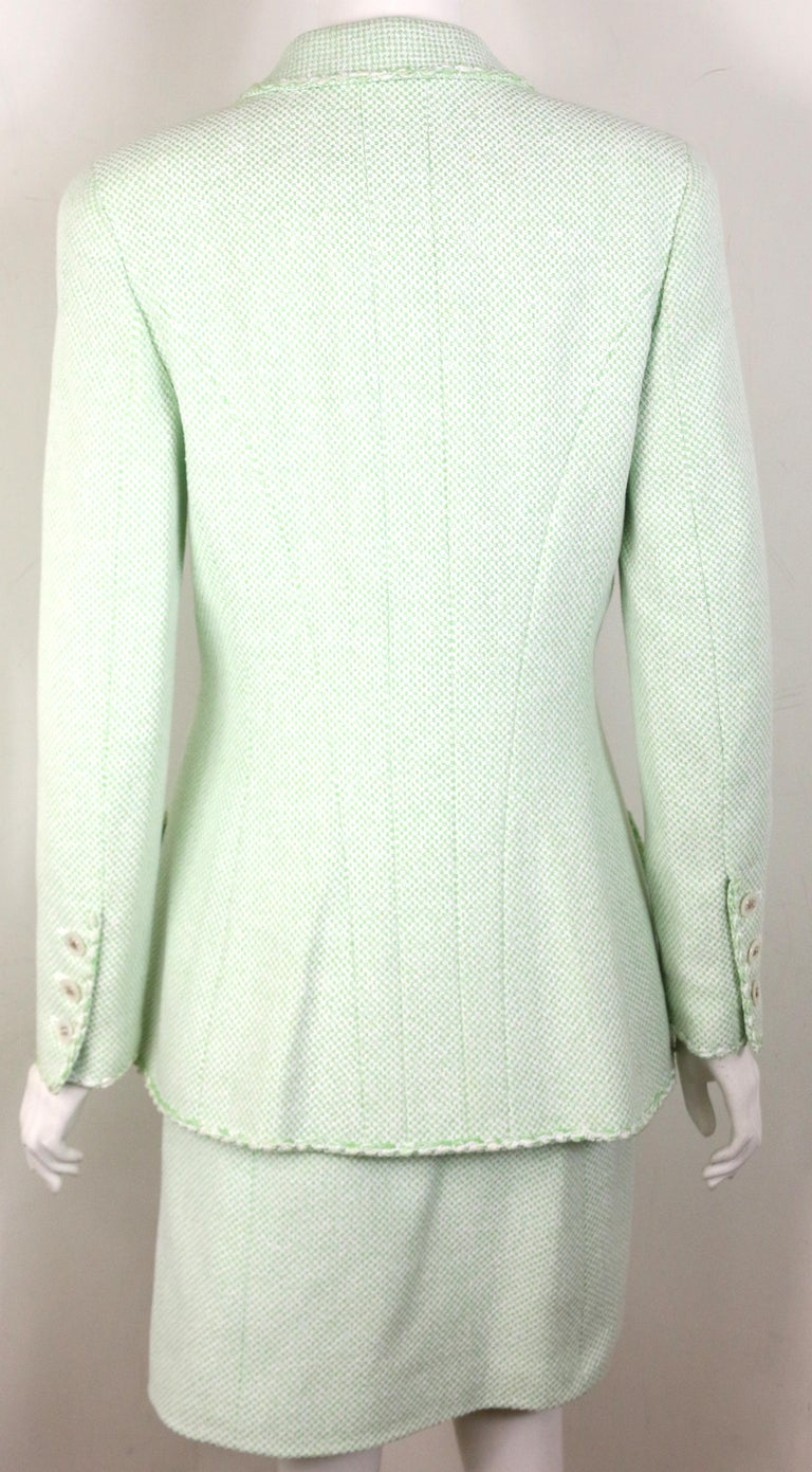 Chanel White/Green Cotton and Wool Double-Breasted Jacket and Skirt Ensemble  In New Condition For Sale In Sheung Wan, HK