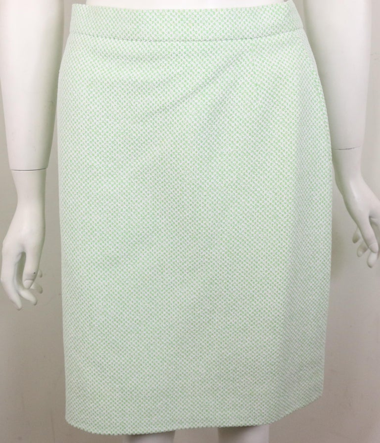 Chanel White/Green Cotton and Wool Double-Breasted Jacket and Skirt Ensemble  For Sale 3