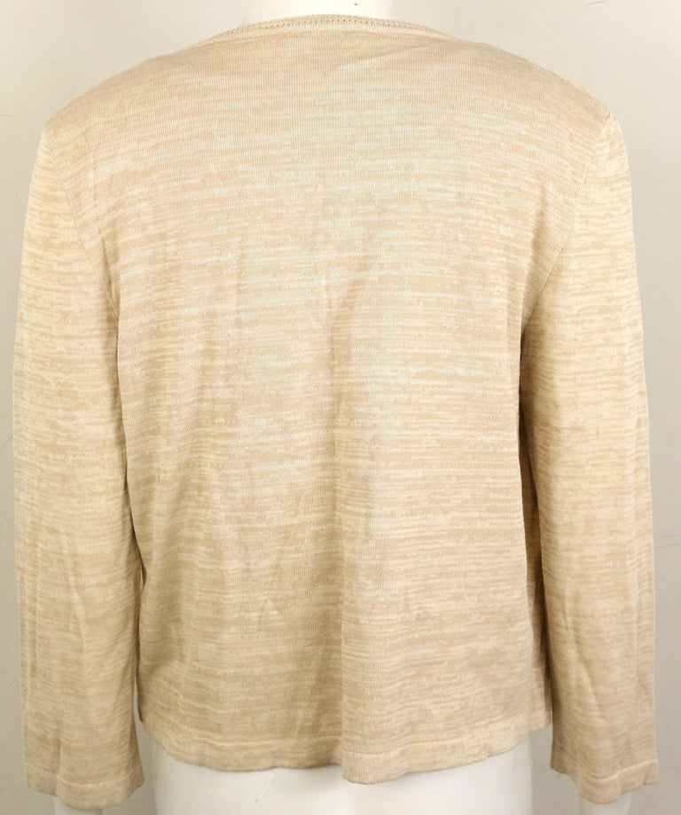 Chanel Beige Cotton and Rayon Cardigan  In Excellent Condition For Sale In Sheung Wan, HK