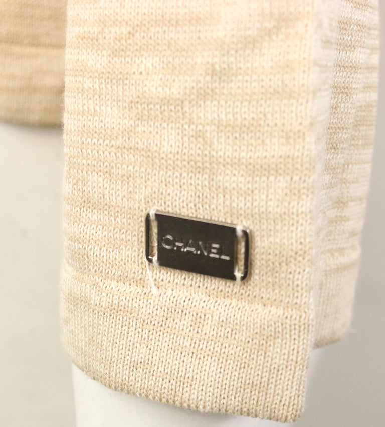 Chanel Beige Cotton and Rayon Cardigan  For Sale 1