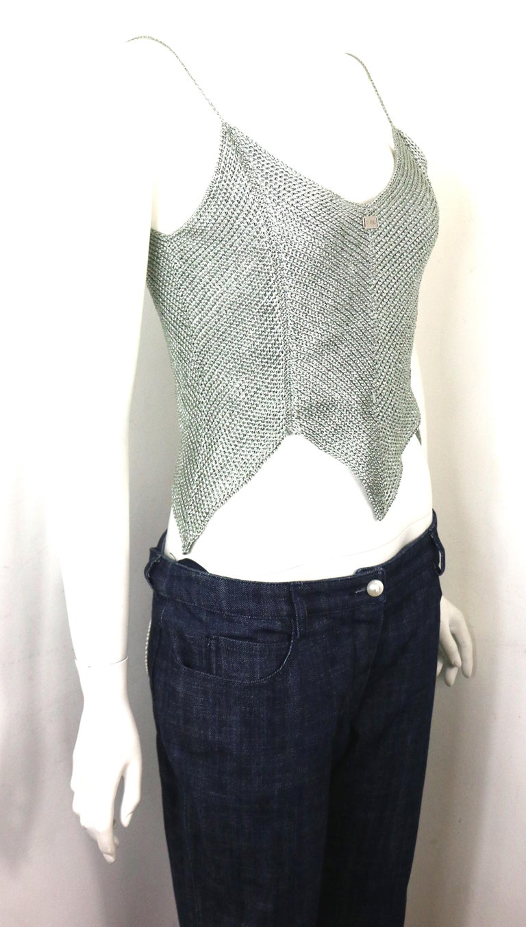 Chanel Silver Knitted Scalloped Cropped Vest Top  In Excellent Condition For Sale In Sheung Wan, HK