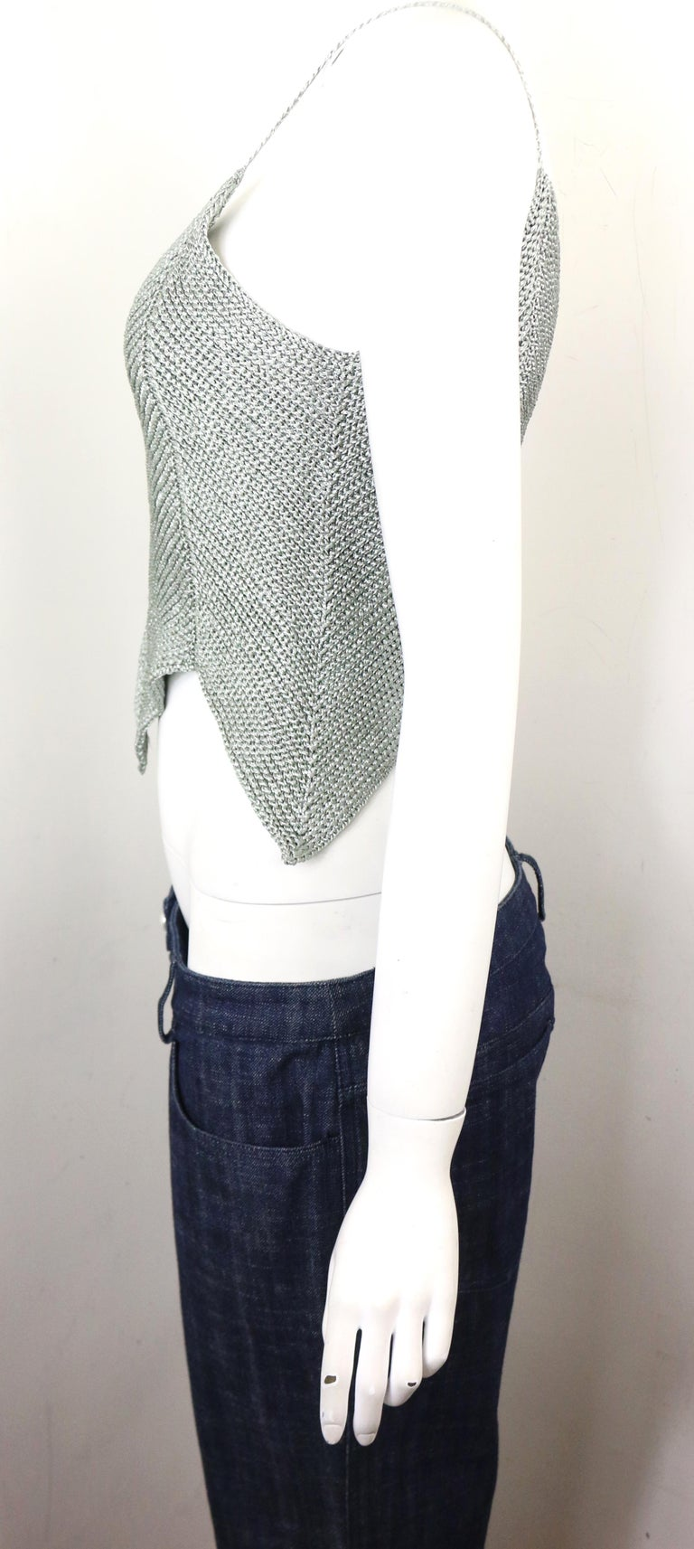 Women's Chanel Silver Knitted Scalloped Cropped Vest Top  For Sale