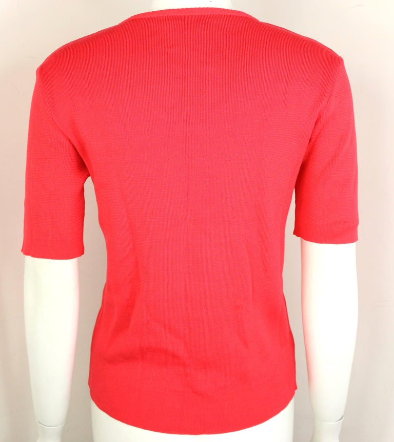 Women's Chanel Red Knitted Cotton Top  For Sale