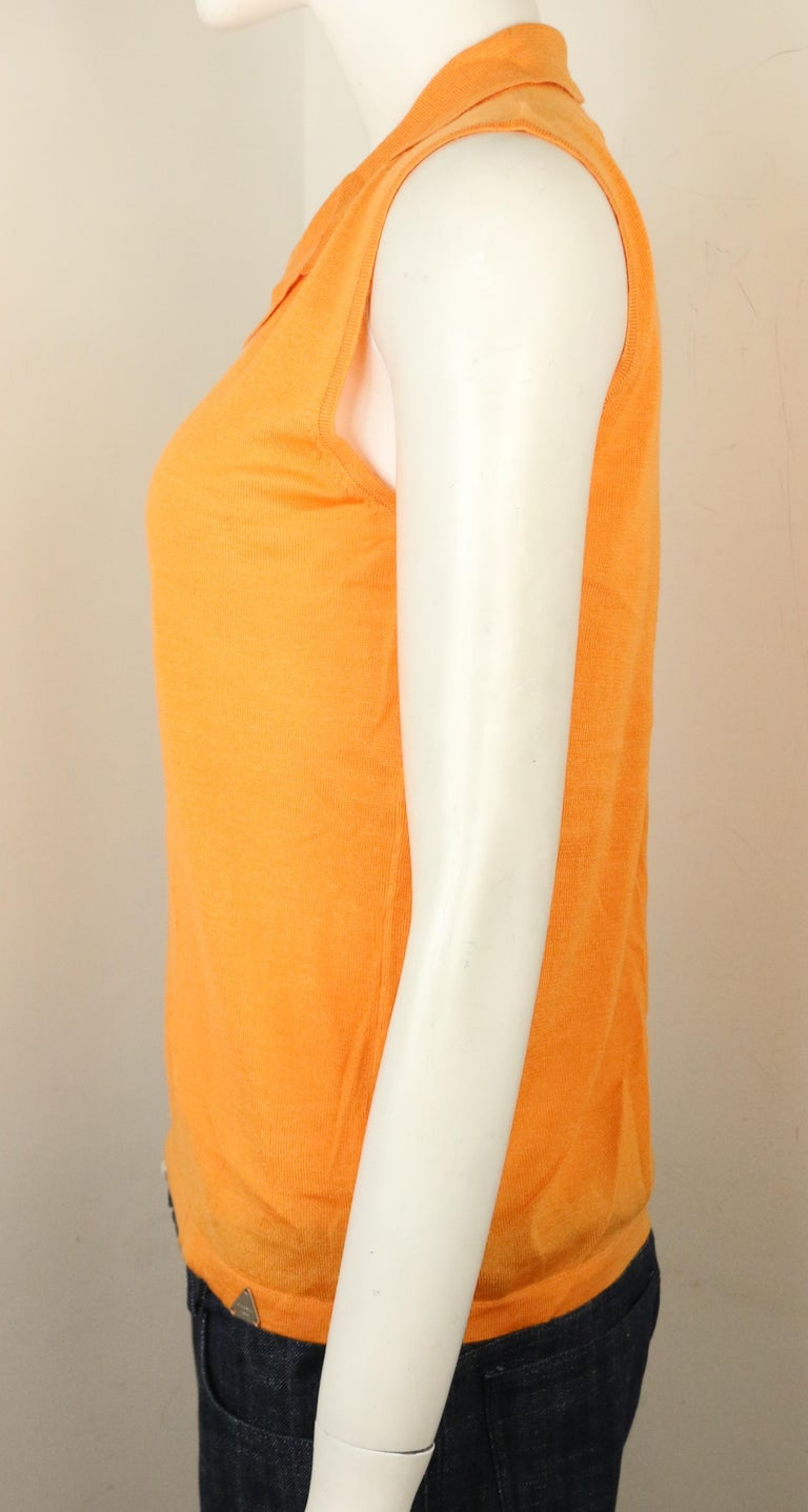 Women's Chanel Orange Cashmere and Silk Sleeveless collar Top  For Sale