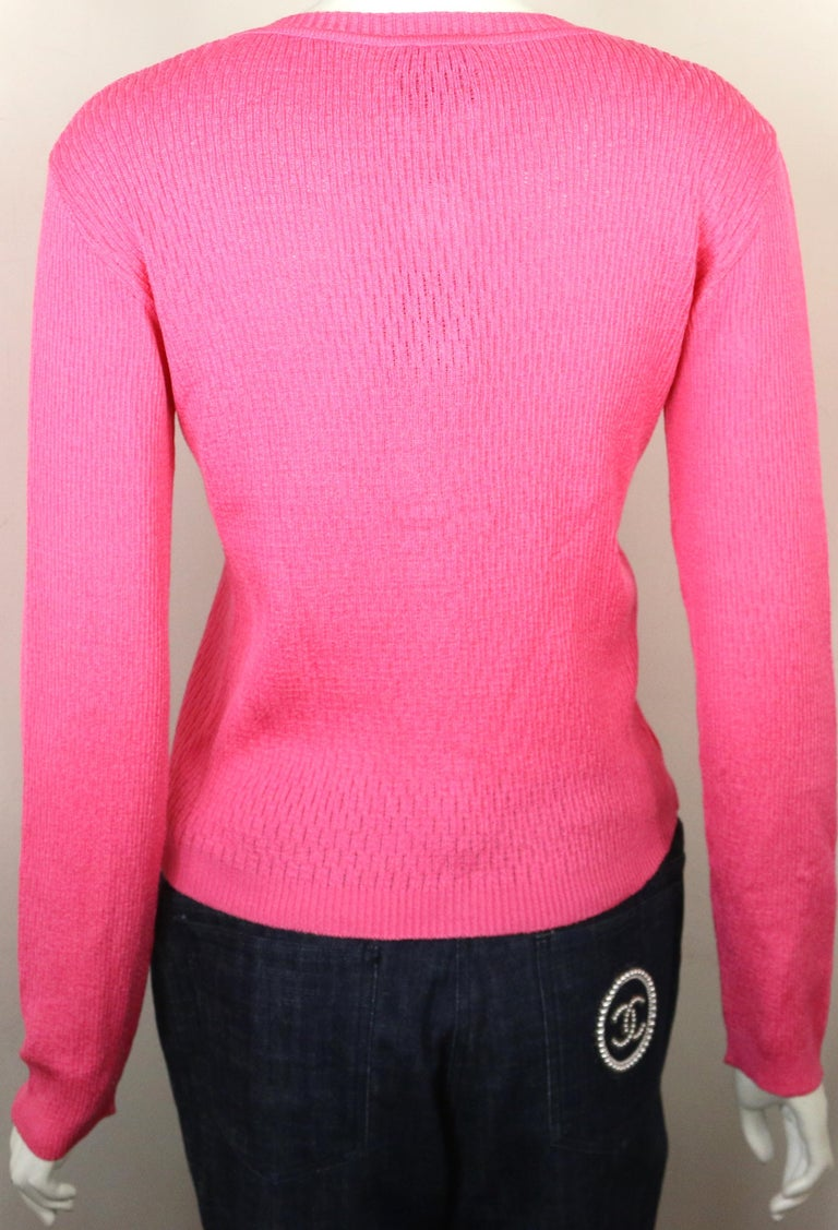 Women's Gianni Versace Jeans Couture Pink Knitted Cardigan  For Sale