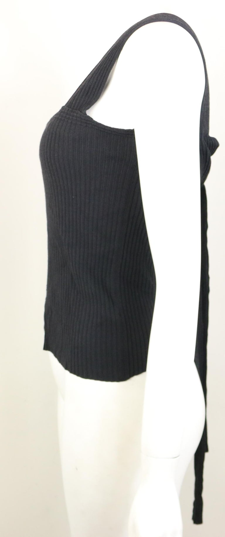 Chanel Black Knitted Cotton and Rayon Sleeveless Top For Sale 2