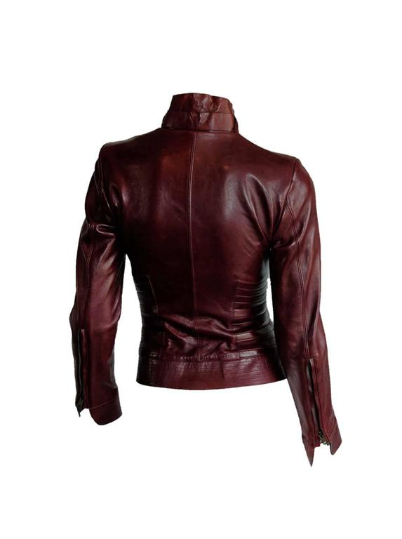 The Dreamiest Tom Ford Gucci FW 2003 Maroon Red Leather Corseted Moto Jacket! 2