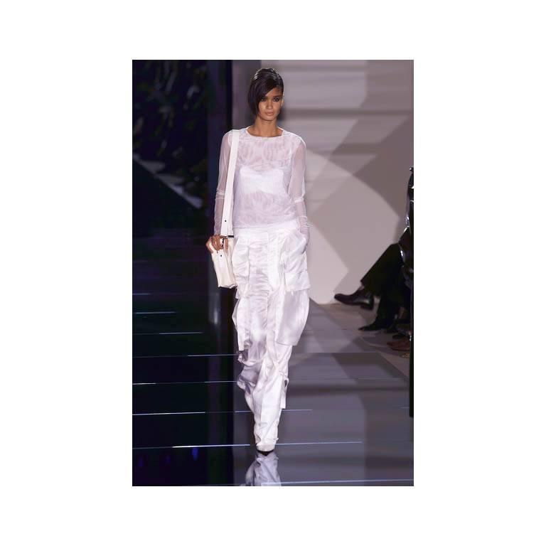 That Famous Tom Ford For Gucci SS 2001 Runway White Silk Bra Top & Cargo Pants! 6