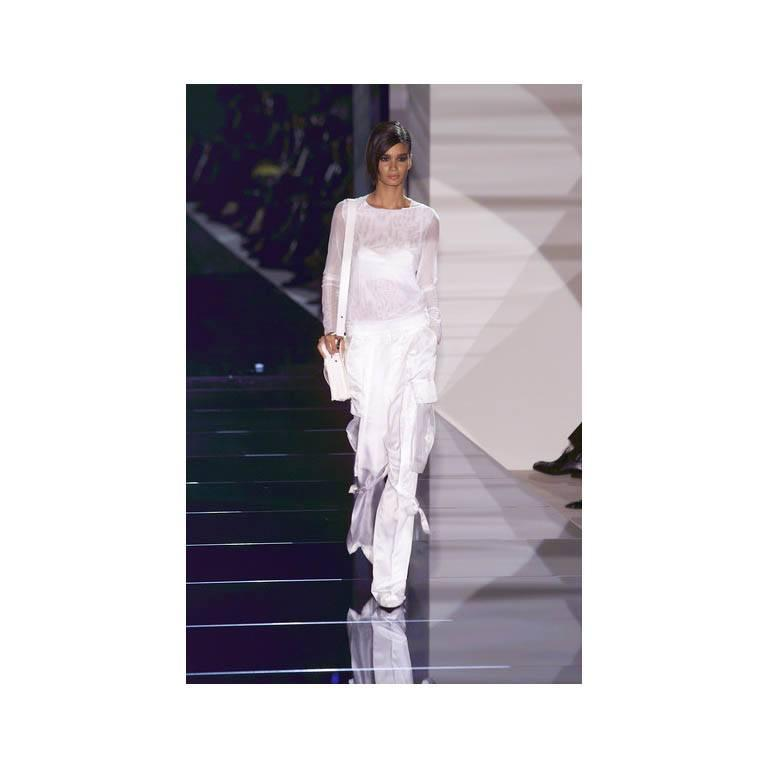 That Famous Tom Ford For Gucci SS 2001 Runway White Silk Bra Top & Cargo Pants! 7
