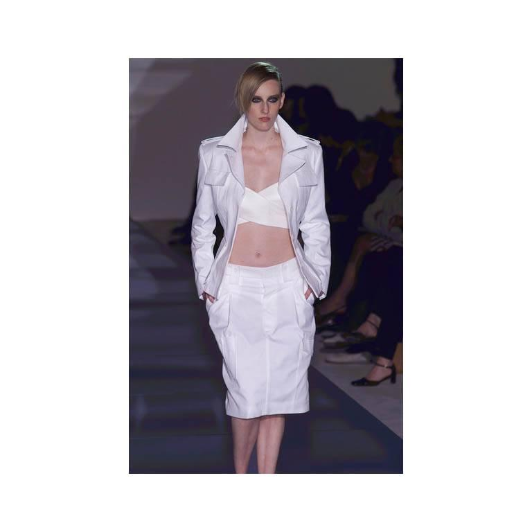 That Famous Tom Ford For Gucci SS 2001 Runway White Silk Bra Top & Cargo Pants! 4