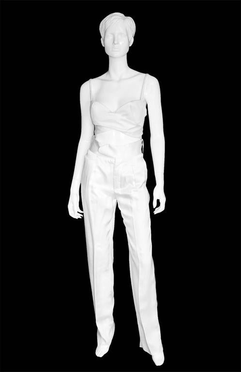 That Famous Tom Ford For Gucci SS 2001 Runway White Silk Bra Top & Cargo Pants! 2