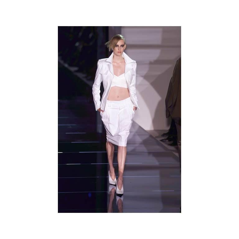 That Famous Tom Ford For Gucci SS 2001 Runway White Silk Bra Top & Cargo Pants! 5