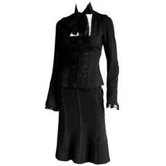Free Shipping:Tom Ford YSL Rive Gauche 2002 Black Silk Blouse & Skirt FR 42/40