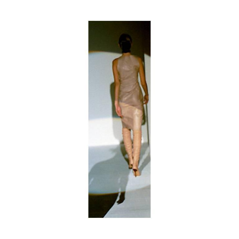 That Utterly Iconic Tom Ford Gucci FW 1999 Collection Nude Leather Runway Dress! 7