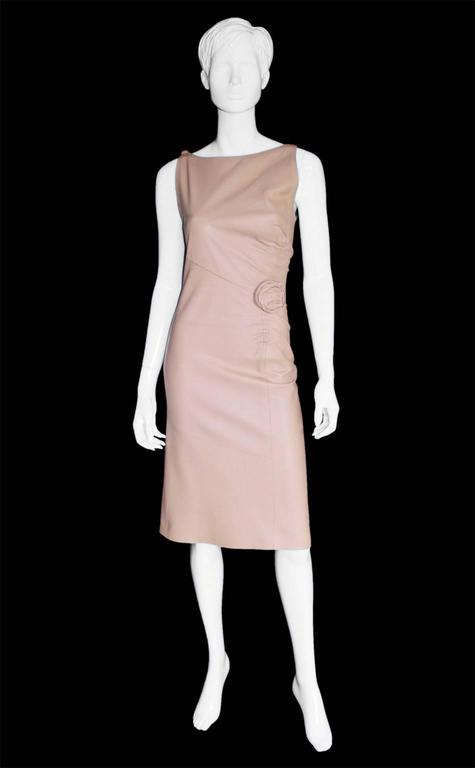 That Utterly Iconic Tom Ford Gucci FW 1999 Collection Nude Leather Runway Dress! 2