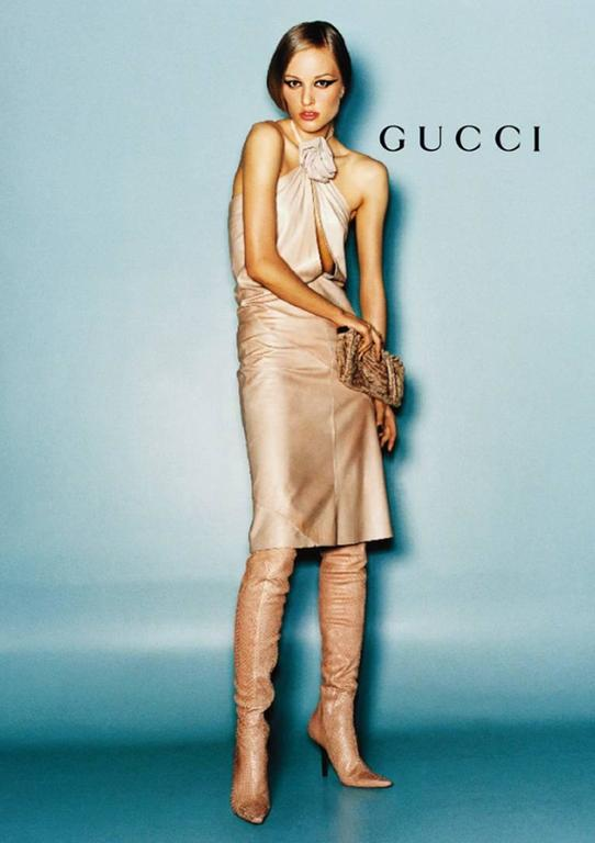 That Utterly Iconic Tom Ford Gucci FW 1999 Collection Nude Leather Runway Dress! 4