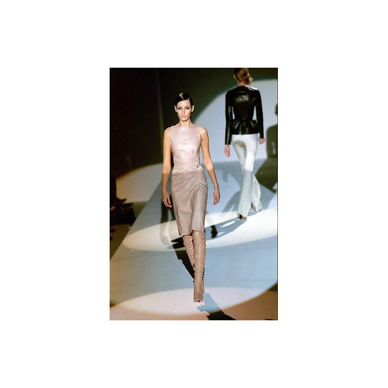 That Utterly Iconic Tom Ford Gucci FW 1999 Collection Nude Leather Runway Dress! 6
