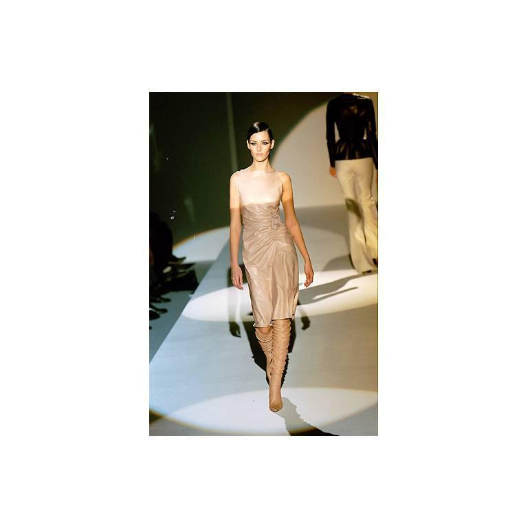 That Utterly Iconic Tom Ford Gucci FW 1999 Collection Nude Leather Runway Dress! 5