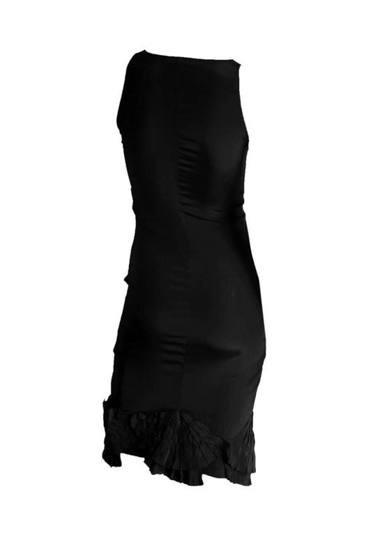 """That Heavenly Tom Ford For Gucci SS 2004 Black Silk Corseted """"Fan"""" Dress! IT 40 2"""