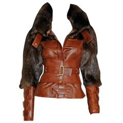 Tom Ford Gucci FW 2003 Cognac Brown Leather Fox Fur Corseted Runway Jacket! IT40