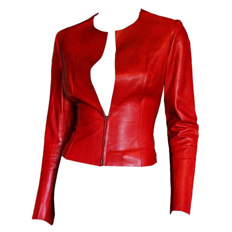 Free Shipping: Heavenly Tom Ford For Gucci FW 1997 Red Leather Moto Jacket IT 42 1