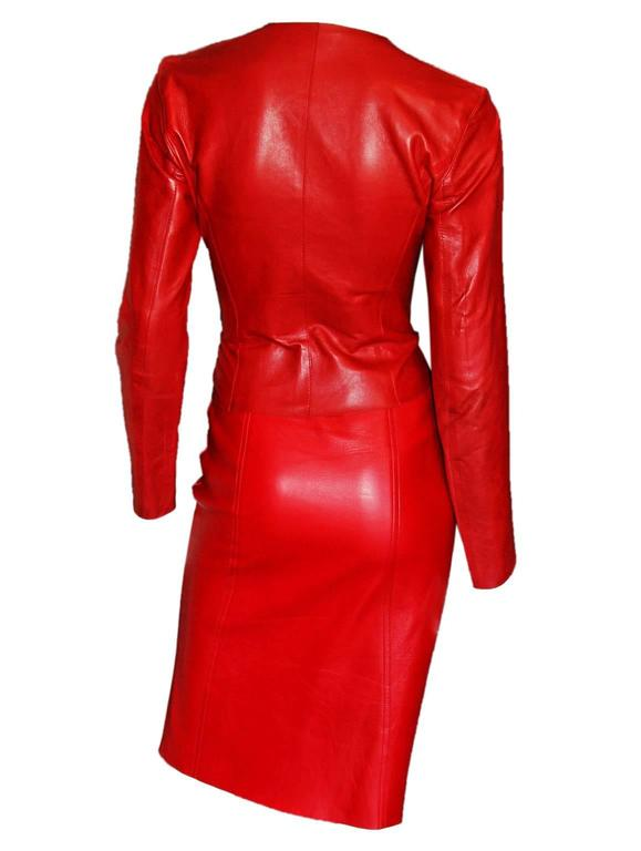 Free Shipping: Heavenly Tom Ford For Gucci FW 1997 Red Leather Moto Jacket IT 42 4