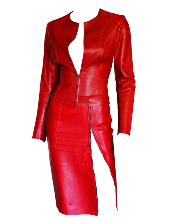 Free Shipping: Heavenly Tom Ford For Gucci FW 1997 Red Leather Moto Jacket IT 42 3