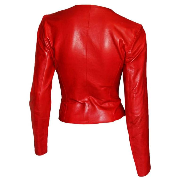 Free Shipping: Heavenly Tom Ford For Gucci FW 1997 Red Leather Moto Jacket IT 42 2